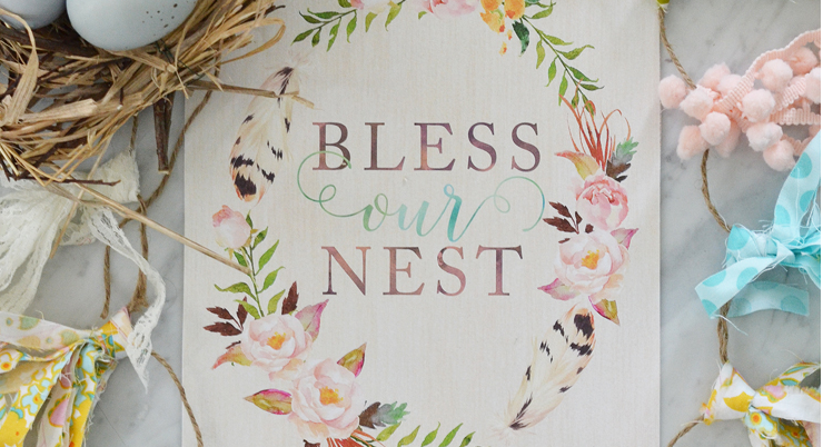 Bless Our Nest - Printable Watercolor Artwork for Spring
